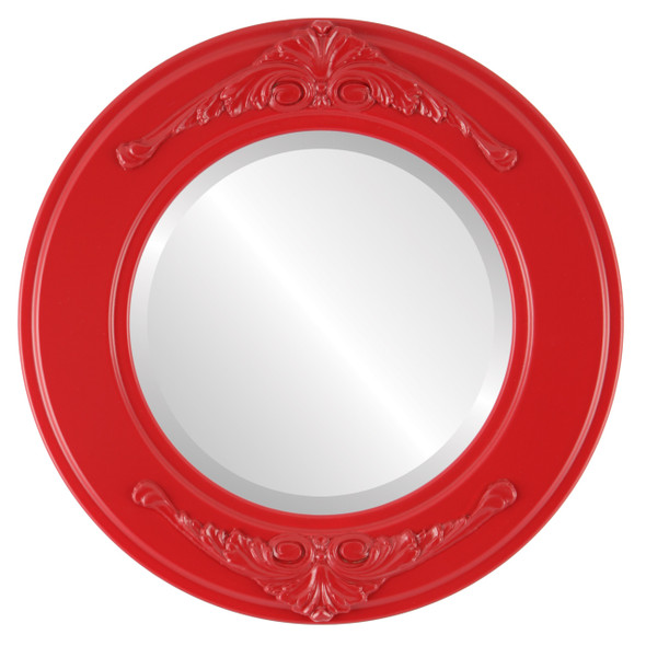 Beveled Mirror - Ramino Round Frame - Holiday Red