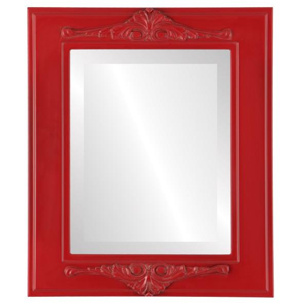 Beveled Mirror - Ramino Rectangle Frame - Holiday Red