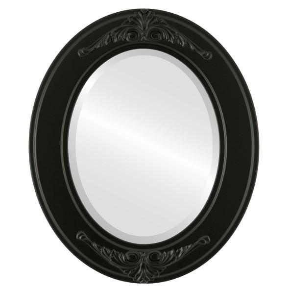 Beveled Mirror - Ramino Oval Frame - Matte Black