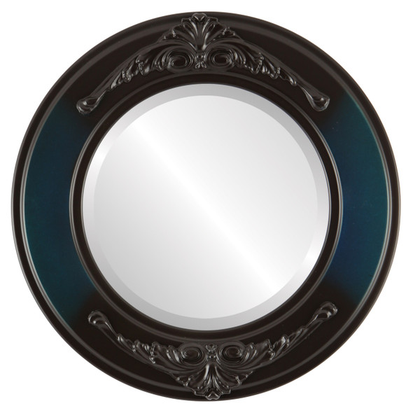 Beveled Mirror - Ramino Round Frame - Royal Blue