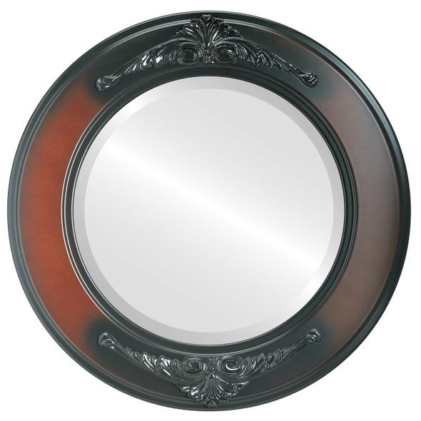 Beveled Mirror - Ramino Round Frame - Rosewood