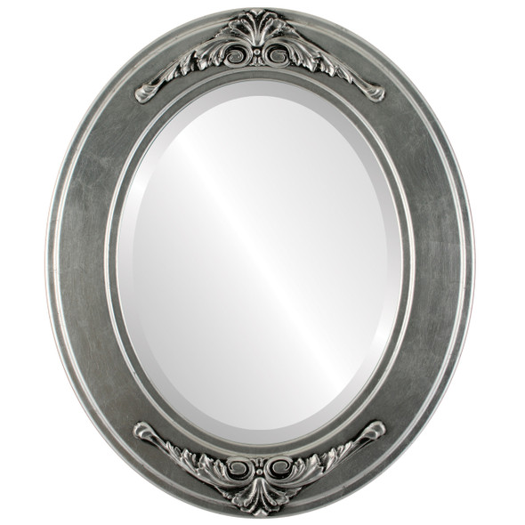 Beveled Mirror - Ramino Oval Frame - Silver Leaf with Black Antique