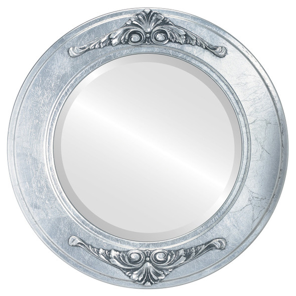 Beveled Mirror - Ramino Round Frame - Silver Leaf with Black Antique