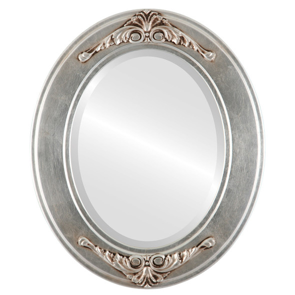 Beveled Mirror - Ramino Oval Frame - Silver Leaf with Brown Antique