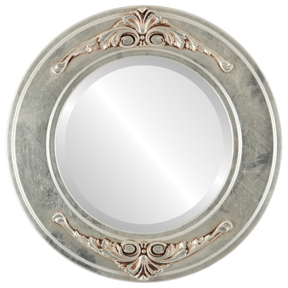 Beveled Mirror - Ramino Round Frame - Silver Leaf with Brown Antique