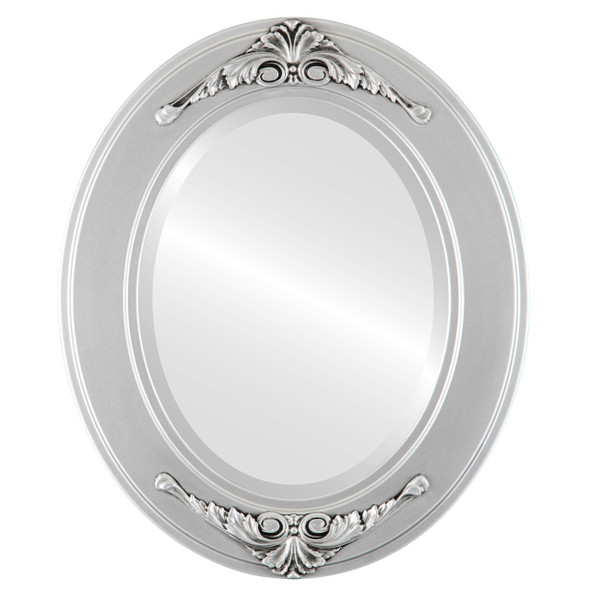 Beveled Mirror - Ramino Oval Frame - Silver Spray