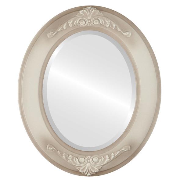 Beveled Mirror - Ramino Oval Frame - Taupe