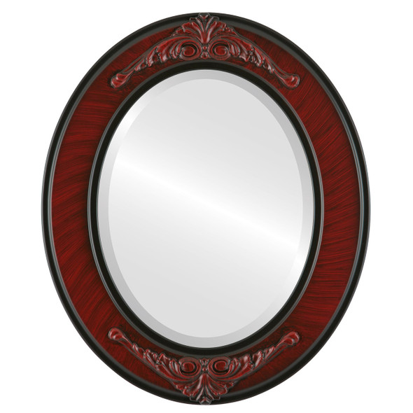 Beveled Mirror - Ramino Oval Frame - Vintage Cherry