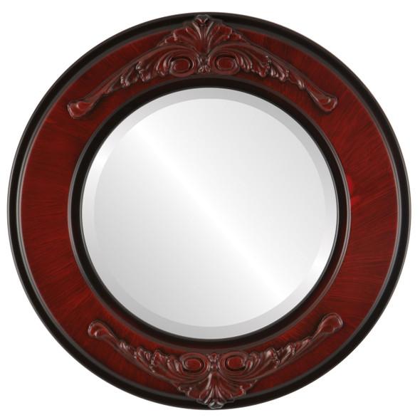 Beveled Mirror - Ramino Round Frame - Vintage Cherry