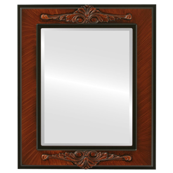 Beveled Mirror - Ramino Rectangle Frame - Vintage Walnut