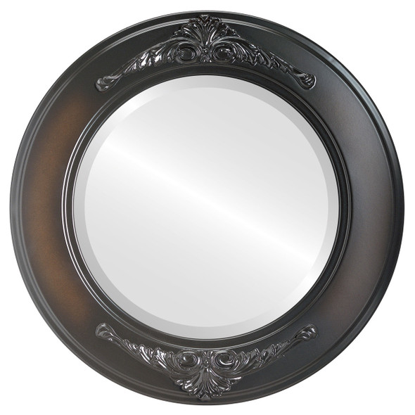 Beveled Mirror - Ramino Round Frame - Walnut