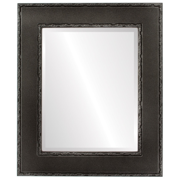 Beveled Mirror - Paris Rectangle Frame - Black Silver