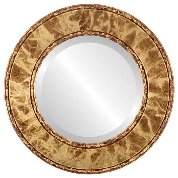 Beveled Mirror - Paris Round Frame - Champagne Gold