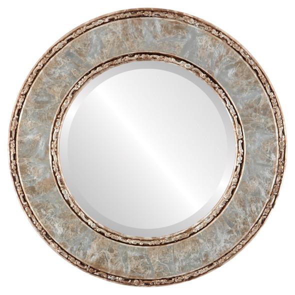Beveled Mirror - Paris Round Frame - Champagne Silver