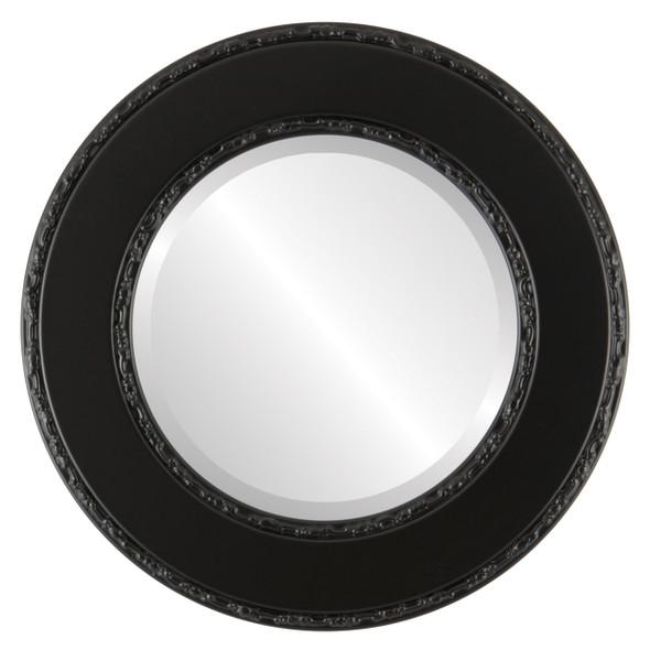 Beveled Mirror - Paris Round Frame - Gloss Black