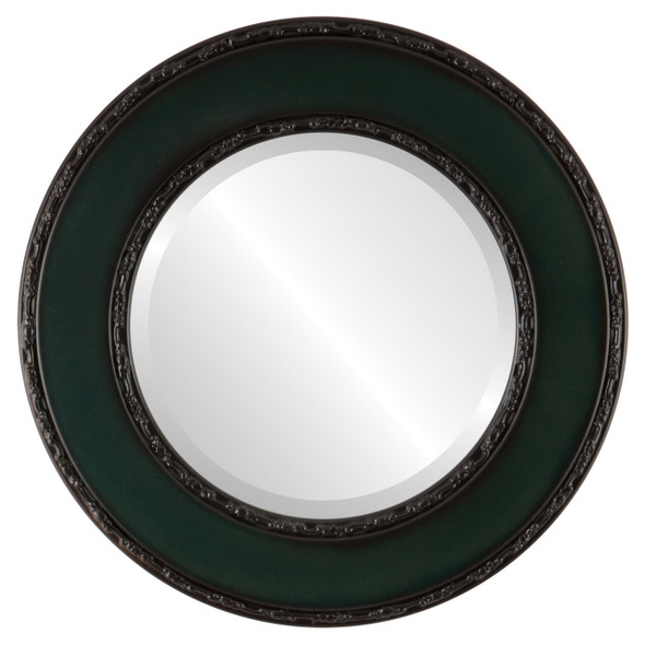 Beveled Mirror - Paris Round Frame - Hunter Green