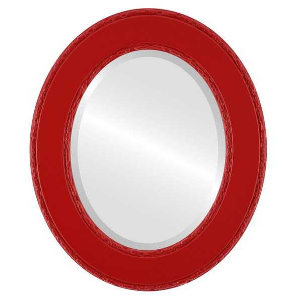 Beveled Mirror - Paris Oval Frame - Holiday Red