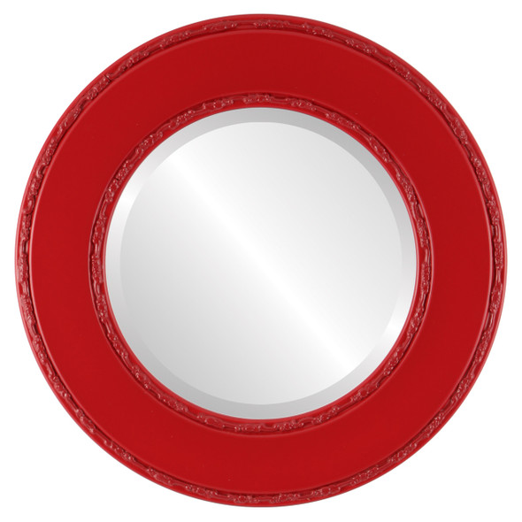 Beveled Mirror - Paris Round Frame - Holiday Red