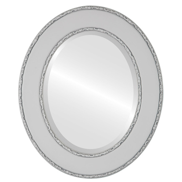 Beveled Mirror - Paris Oval Frame - Linen White