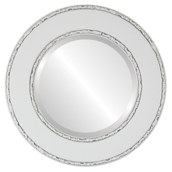 Beveled Mirror - Paris Round Frame - Linen White