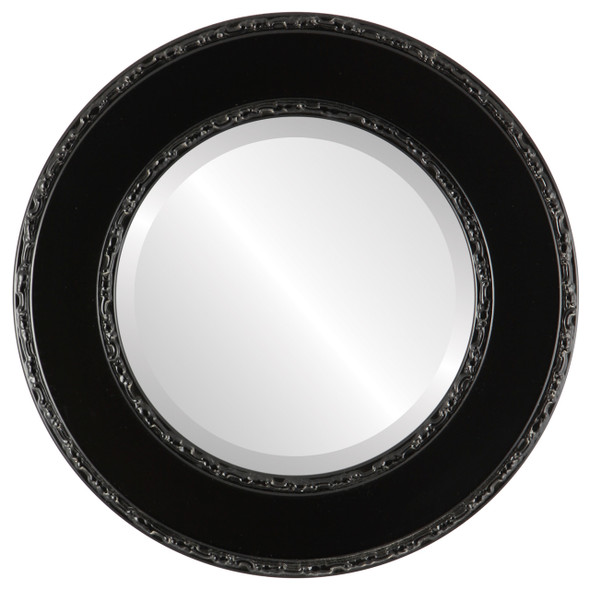 Beveled Mirror - Paris Round Frame - Matte Black