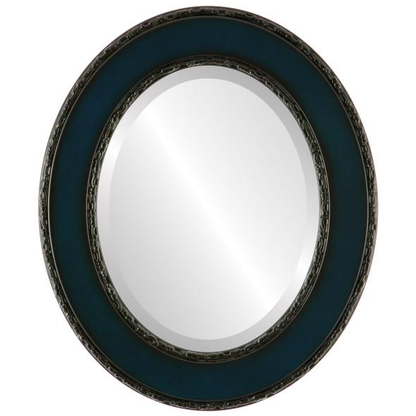 Beveled Mirror - Paris Oval Frame - Royal Blue