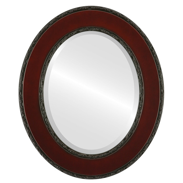 Beveled Mirror - Paris Oval Frame - Rosewood