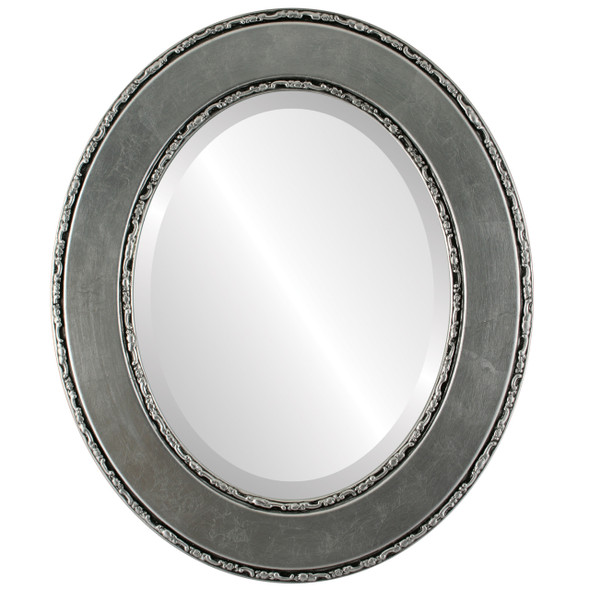 Beveled Mirror - Paris Oval Frame - Silver Leaf with Black Antique