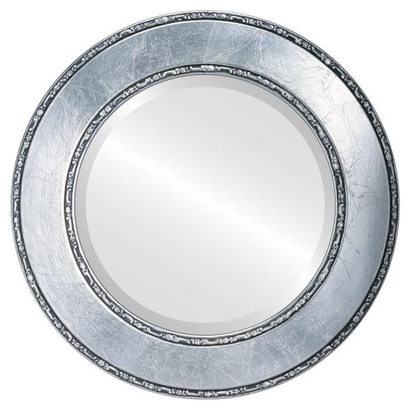 Beveled Mirror - Paris Round Frame - Silver Leaf with Black Antique