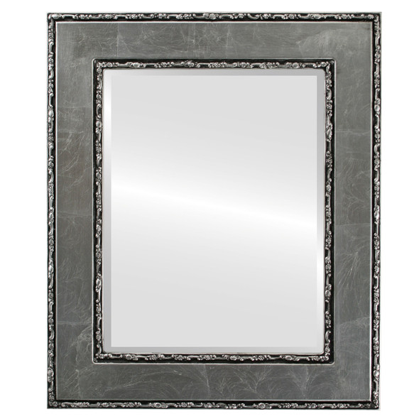 Beveled Mirror - Paris Rectangle Frame - Silver Leaf with Black Antique
