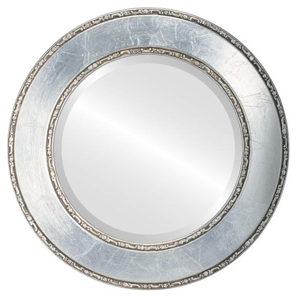 Beveled Mirror - Paris Round Frame - Silver Leaf with Brown Antique