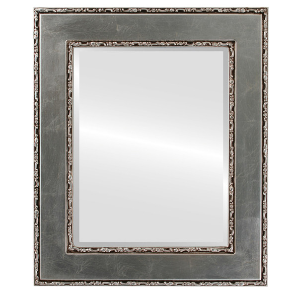 Beveled Mirror - Paris Rectangle Frame - Silver Leaf with Brown Antique