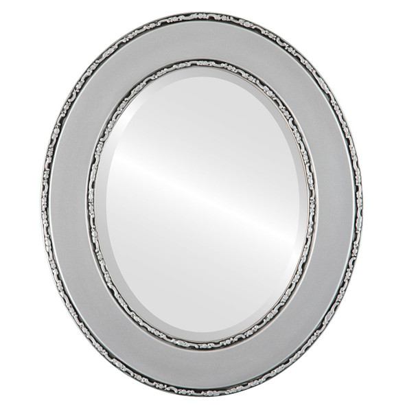 Beveled Mirror - Paris Oval Frame - Silver Spray