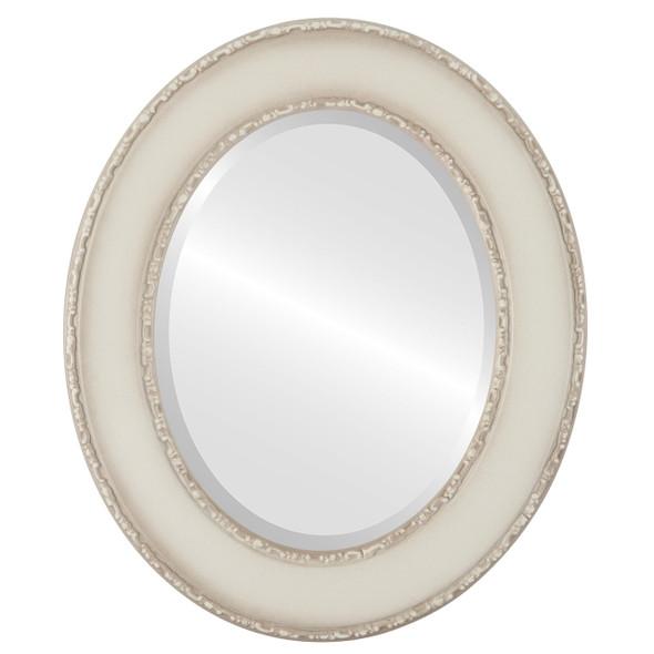 Beveled Mirror - Paris Oval Frame - Taupe