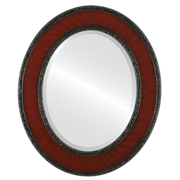 Beveled Mirror - Paris Oval Frame - Vintage Cherry