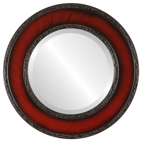 Beveled Mirror - Paris Round Frame - Vintage Cherry
