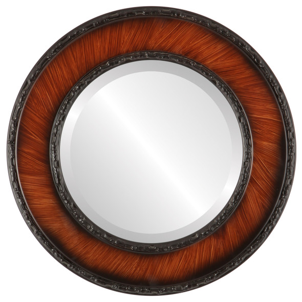 Beveled Mirror - Paris Round Frame - Vintage Walnut