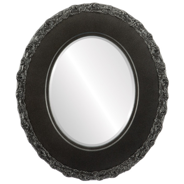 Beveled Mirror - Williamsburg Oval Frame - Black Silver