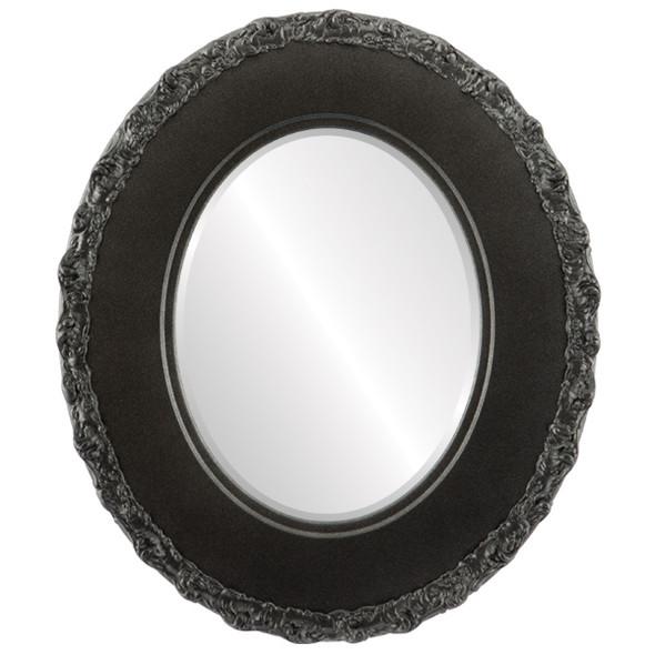 Beveled Mirror - Williamsburg Oval Frame - Black Silver