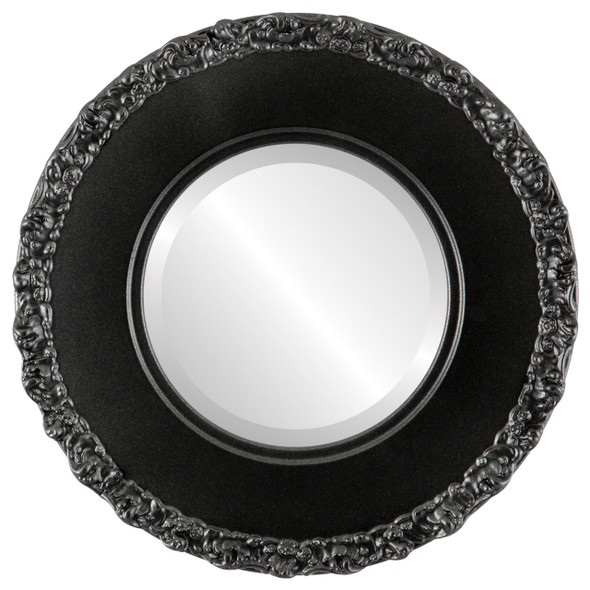 Beveled Mirror - Williamsburg Round Frame - Black Silver