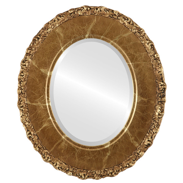 Beveled Mirror - Williamsburg Oval Frame - Champagne Gold