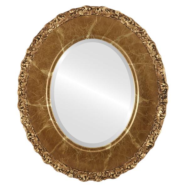 Beveled Mirror - Williamsburg Oval Frame - Champagne Gold