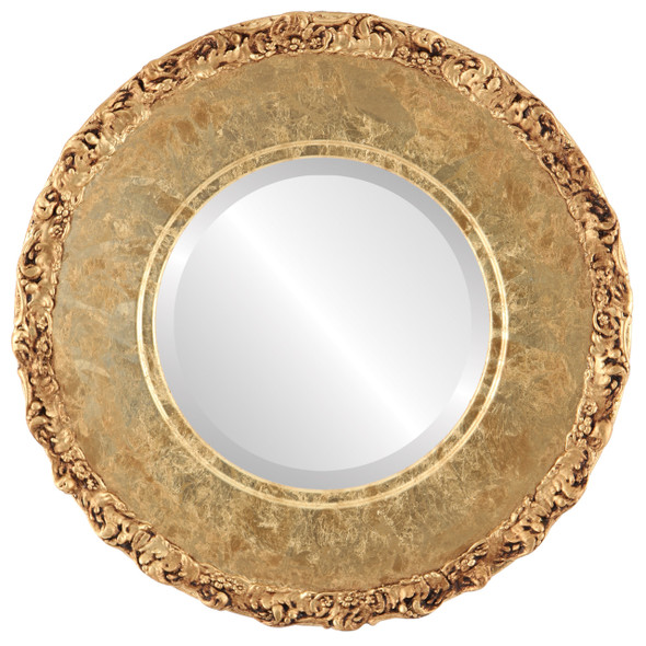 Beveled Mirror - Williamsburg Round Frame - Champagne Gold