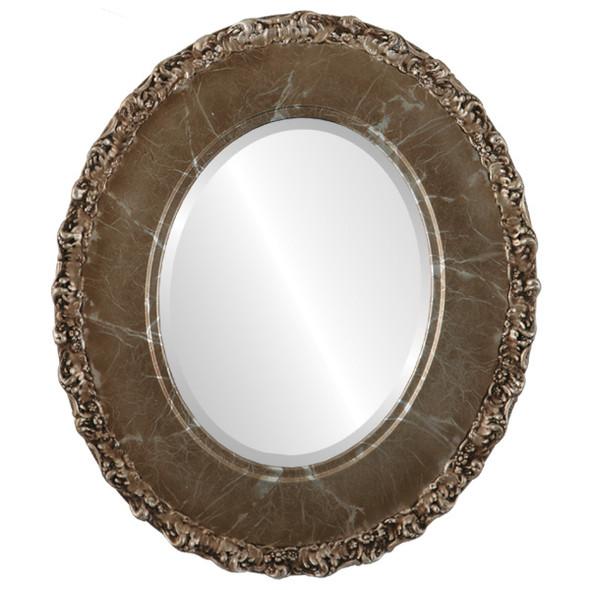 Beveled Mirror - Williamsburg Oval Frame - Champagne Silver
