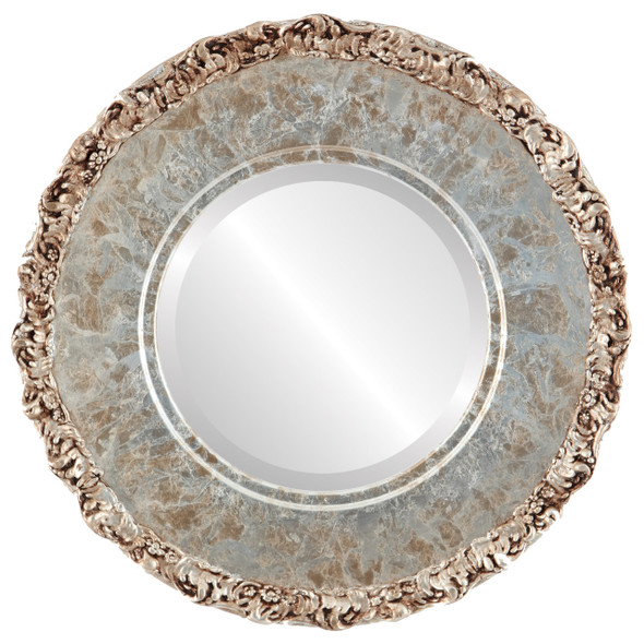 Beveled Mirror - Williamsburg Round Frame - Champagne Silver
