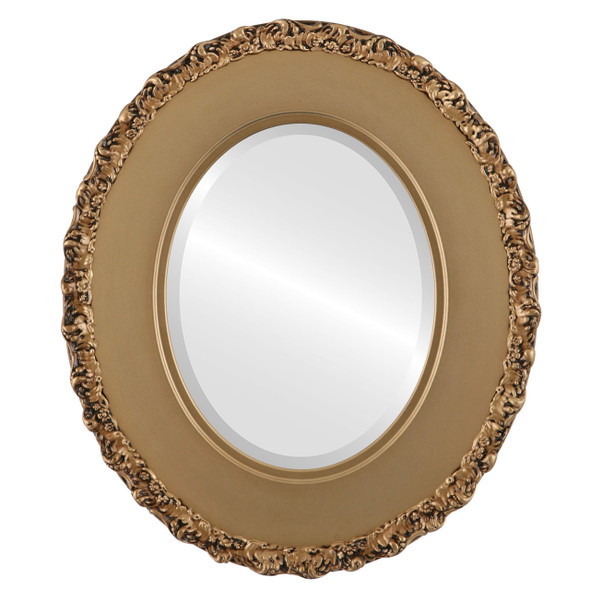 Beveled Mirror - Williamsburg Oval Frame - Desert Gold