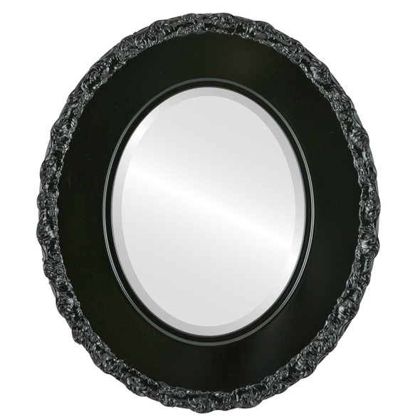 Beveled Mirror - Williamsburg Oval Frame - Gloss Black