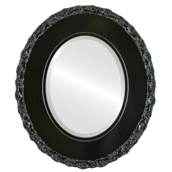 Beveled Mirror - Williamsburg Oval Frame - Gloss Black