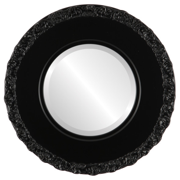 Beveled Mirror - Williamsburg Round Frame - Gloss Black