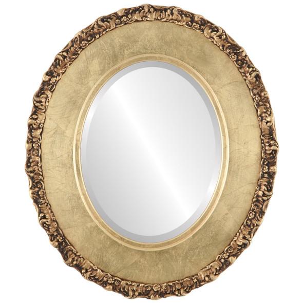 Beveled Mirror - Williamsburg Oval Frame - Gold Leaf